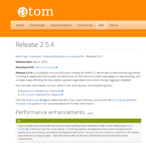 image of AtoM 2.5.4 release page