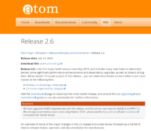An image of the AtoM 2.6 release page on the AtoM wiki