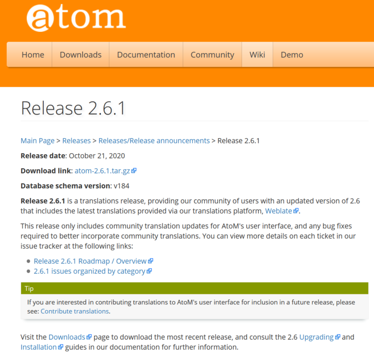 An image of the AtoM 2.6.1 release page on the AtoM wiki